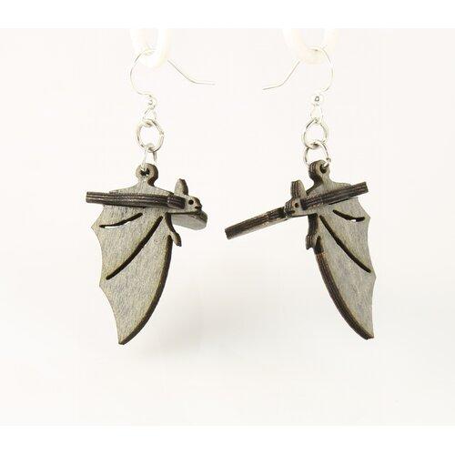 Green Tree Jewelry 3D Bat Drop Earrings