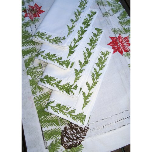 Lowcountry Linens Pine Garland Runner and Pine Garland Dinner Napkin Set