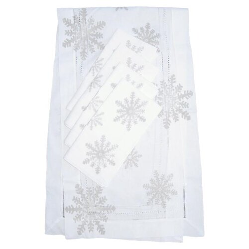 Lowcountry Linens Snowflake Runner and Snowflake Dinner Napkin Set