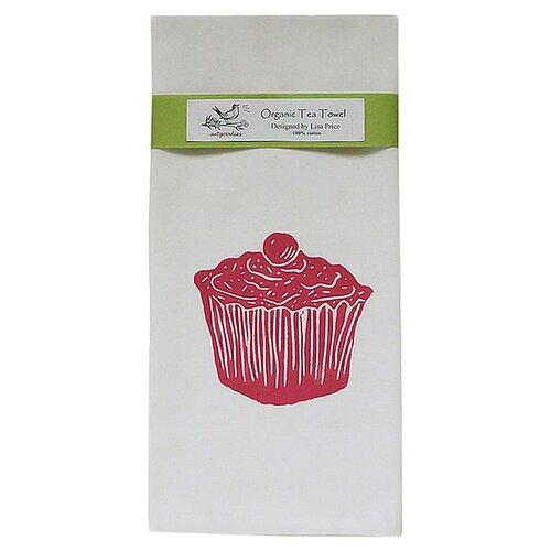 Organic Cupcake Block Print Tea Towel