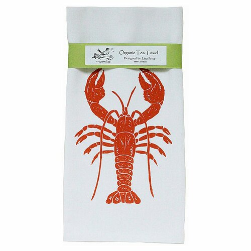Artgoodies Organic Lobster Block Print Tea Towel