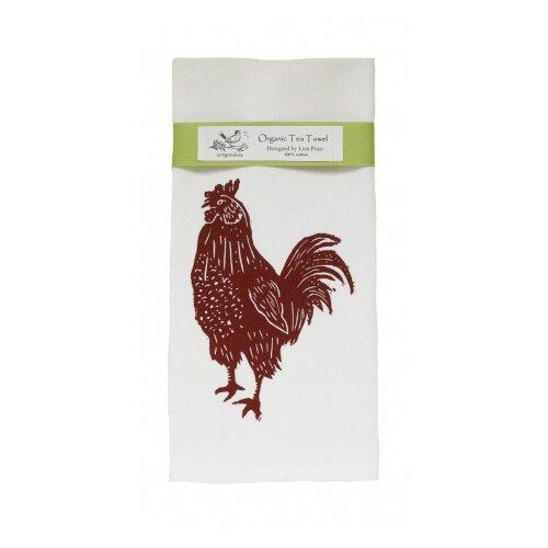 Organic Rooster Block Print Tea Towel
