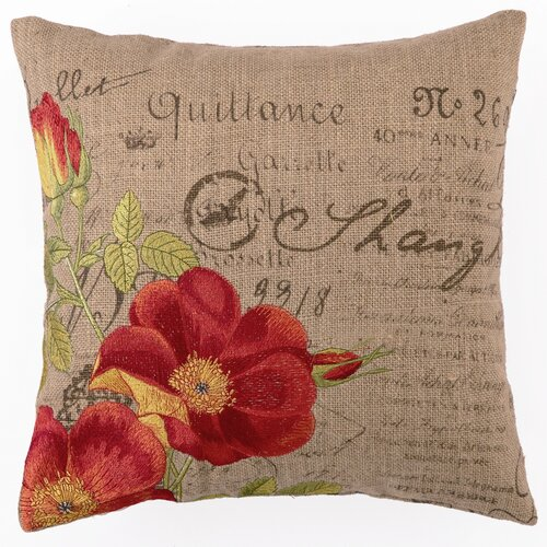 Orange Rose Down Filled Embroidered Pillow