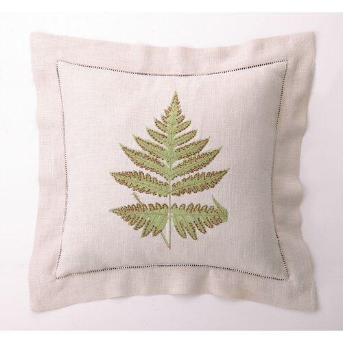 D.L. Rhein Fern Leaves II Down Filled Embroidered Linen Pillow