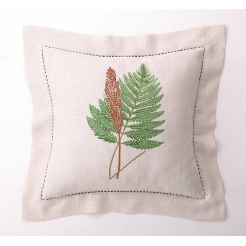 Fern Leaves IV Down Filled Embroidered Linen Pillow
