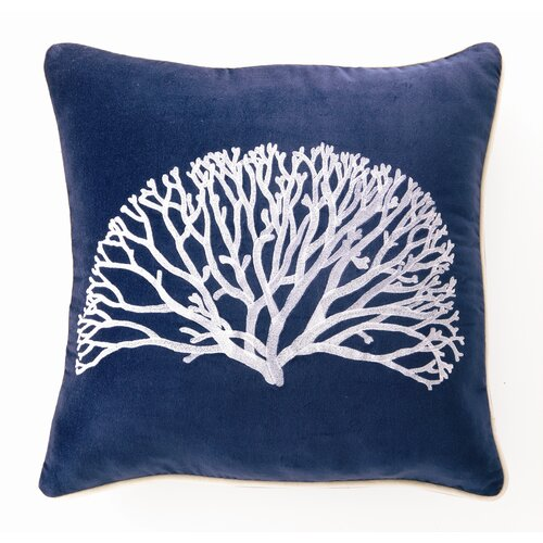Coral Fan Down Filled Embroidered Velvet Pillow