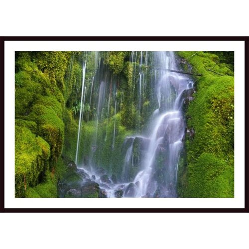 'Waterfall Over Moss Covered Rocks' by Craig Tuttle Framed Photographic Print