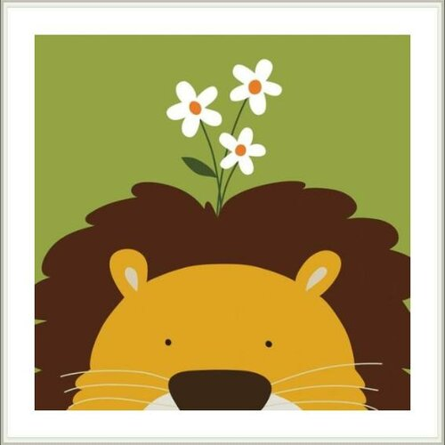 Printfinders Peek-A-Boo Lion by Yuko Lau Framed Art