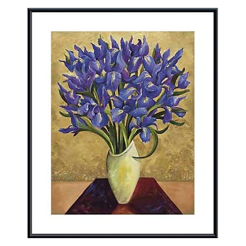 Blue Iris Bouquet by Shelly Bartek Framed Painting Print