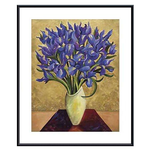 Blue Iris Bouquet by Shelly Bartek Framed Painting Print