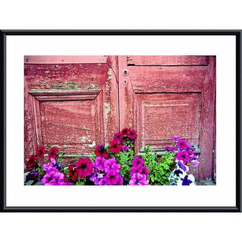 Barewalls 'Old Door and Flowers' by John K. Nakata Framed Photographic Print