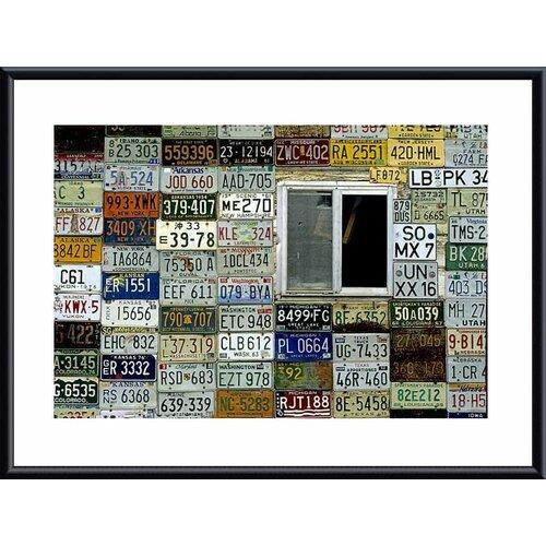 'License Plate Wall' by John K. Nakata Framed Photographic Print
