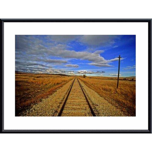 Barewalls 'Rails to Infinity' by John K. Nakata Framed Photographic Print