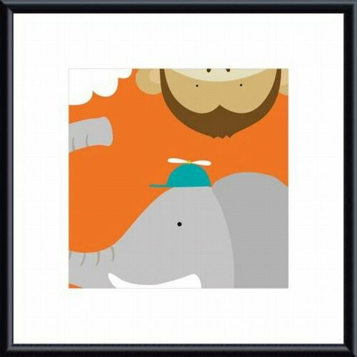 Printfinders Safari Group Monkey and Elephant by Yuko Lau Framed Art