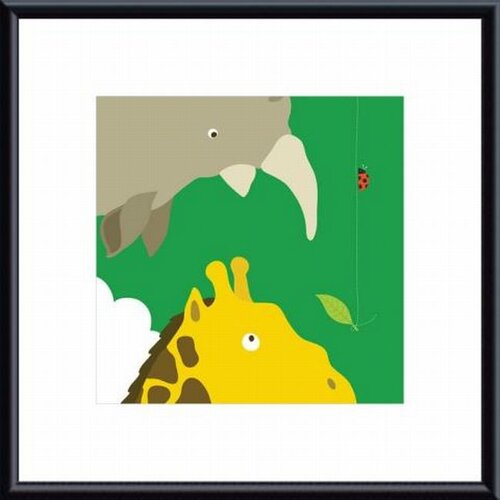 Barewalls Safari Group Giraffe and Rhino by Yuko Lau Framed Art