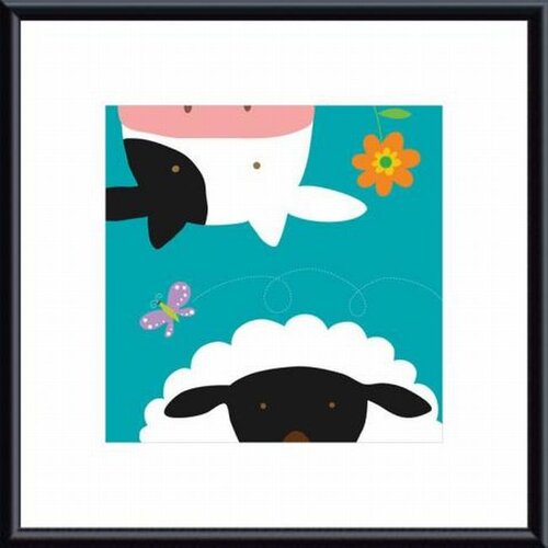 Barewalls Farm Group: Cow and Sheep by Yuko Lau Framed Art