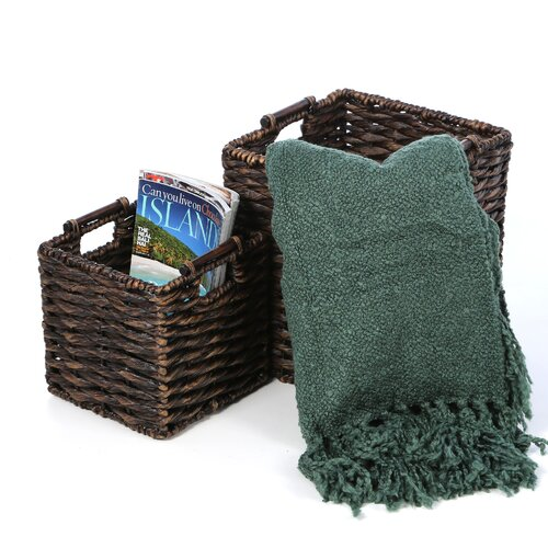 New Rustics Home Patina Square Water Hyacinth 2 Piece Basket Set