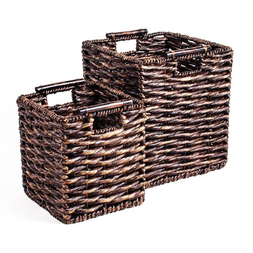 New Rustics Home Patina Square Water Hyacinth 2 Piece Basket Set