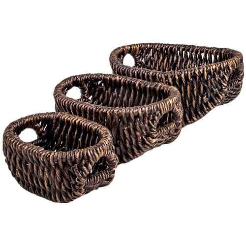 New Rustics Home Patina Oval Water Hyacinth 3 Piece Basket Set