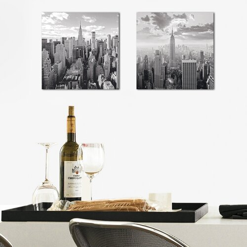 Deco Glass NY Skyline 2 Piece Photographic Print Set