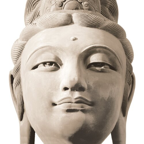 Platin Art Deco Glass Buddha's Head Photographic Print