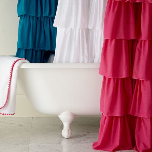 India Rose Ruffled Cotton Shower Curtain