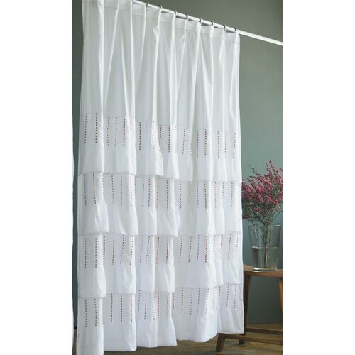 India Rose Pintuck Cotton Shower Curtain