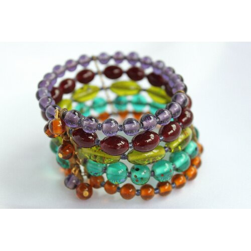 5 Strand Colorful Glass Cuff Bracelet