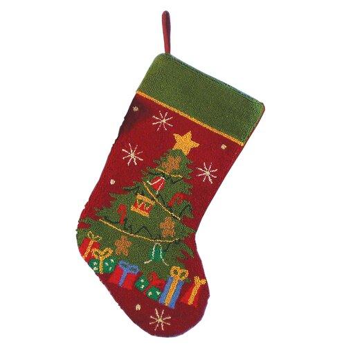 Santa's Workshop O'Christmas Tree Hooked Stocking