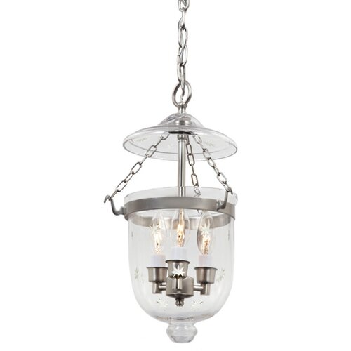 JVI Designs 3 Light Small Bell Jar Foyer Pendant with Star Glass
