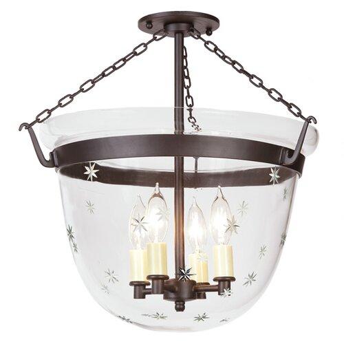 jvi designs 3 light small bell jar foyer pendant with star glass. Black Bedroom Furniture Sets. Home Design Ideas