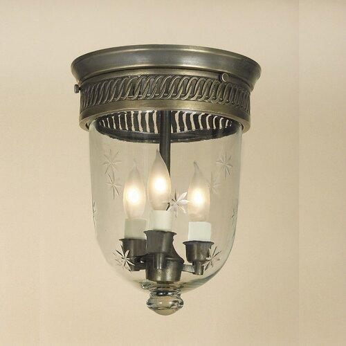 JVI Designs 3 Light Bell Jar Small Flush Mount with Star Glass