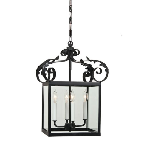 4 Light Large Scroll Foyer Pendant