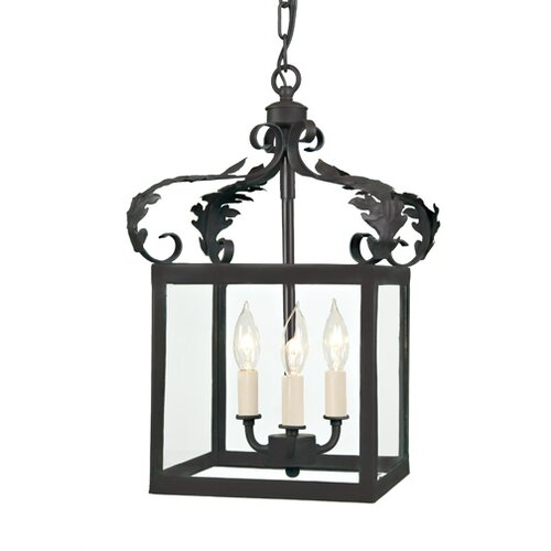3 Light Small Scroll Foyer Pendant