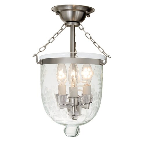 JVI Designs 3 Light Small Semi Flush Mount with Flower Glass