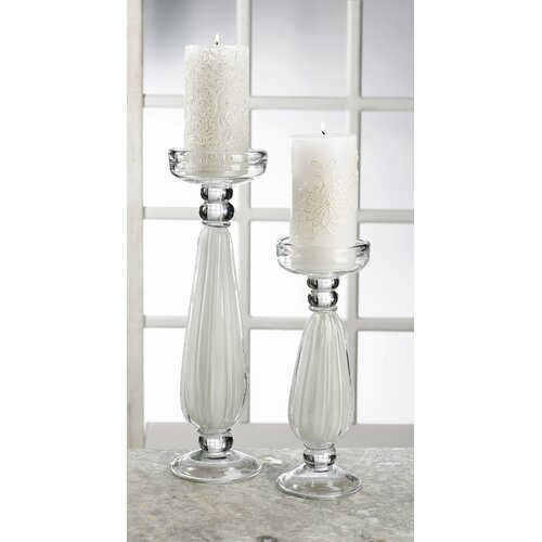 Biedermann and Sons Milk Glass Pillar Candle Holder