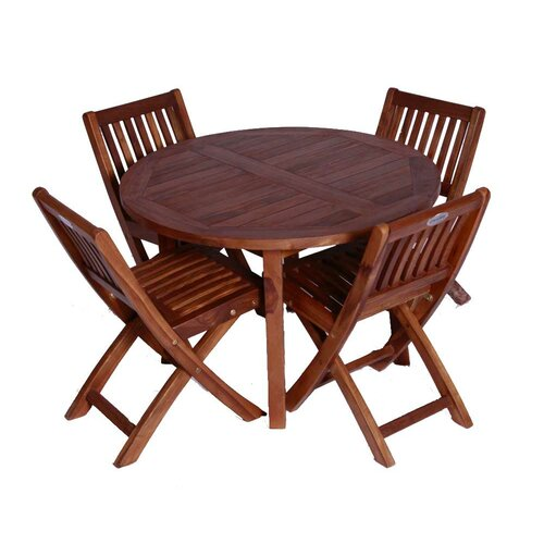 JazTy Classic Kids' 5 Piece Teak Table and Folding Chair Set