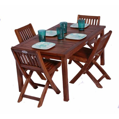 Classic Kids 5 Piece Teak Table and Folding Chair Set
