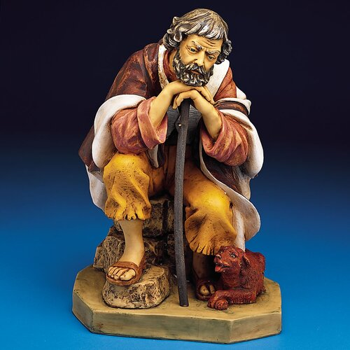 "Fontanini 27"" Scale Shepherd Abraham with Dog Figurine"