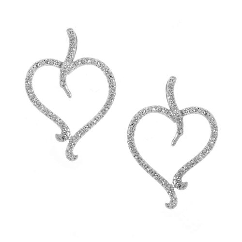Open Heart Leaf Cubic Zirconia Drop Earrings