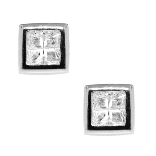 Sterling Silver 'Four-square' Cubic Zirconia Stud Earrings