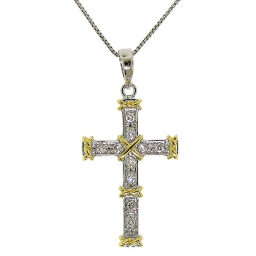 Moise 14k Goldplated and Sterling Silver Cubic Zirconia Cross Necklace