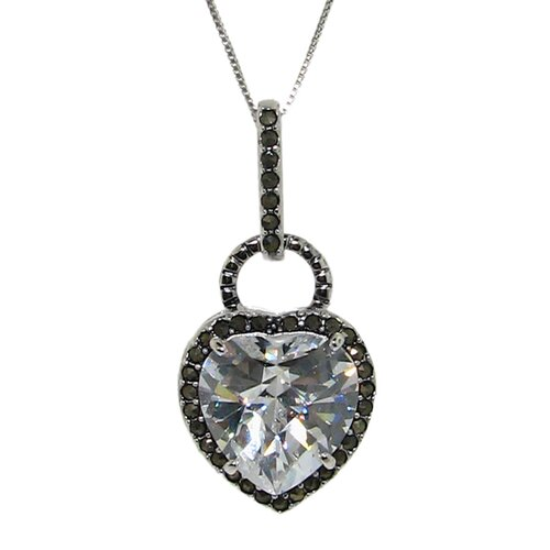 Moise Sterling Silver Cubic Zirconia and Marcasite Heart Necklace