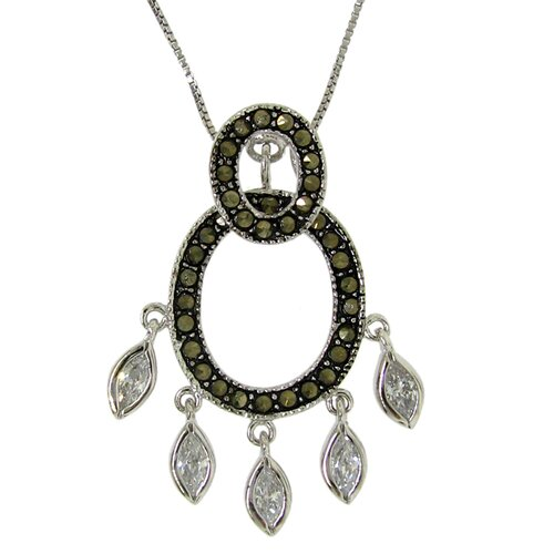 Sterling Silver Double Oval Marcasite Necklace