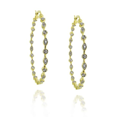 Moise Two-tone Diamond Accent Hoop Earrings