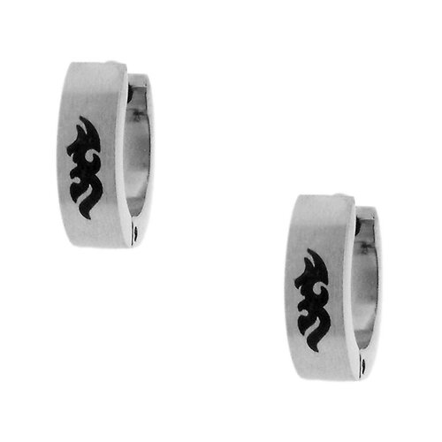 Men's Urban Tribal Design Hoop Earrings