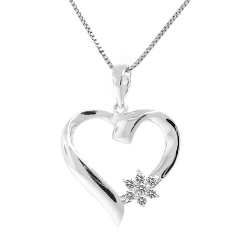Sterling Silver Flower Accent Diamond Heart Necklace