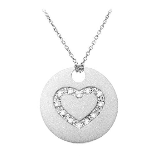 Sterling Silver Encrusted Heart Accent Diamond Necklace