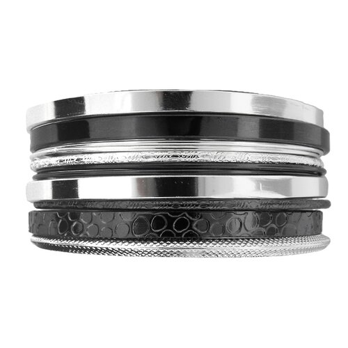 Moise Two-tone Stackable Textured Bangle Bracelet