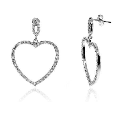 Heart Shaped Micro Pave Cubic Zirconia Dangle Earring